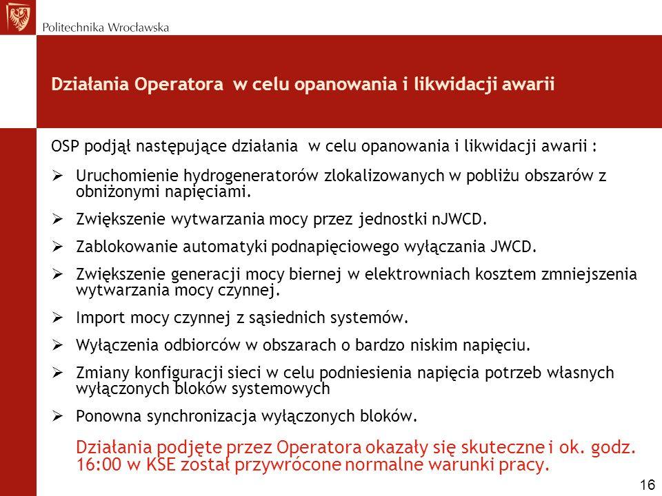 Działania Operatora w celu opanowania i likwidacji awarii OSP podjął następujące działania w celu opanowania i likwidacji awarii : Uruchomienie hydrog