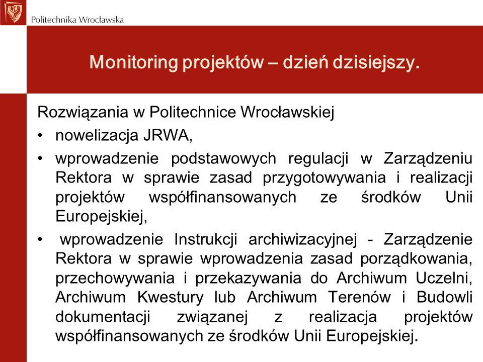Monitoring projektów – dzień dzisiejszy. Rozwiązania w Politechnice Wrocławskiej nowelizacja JRWA, wprowadzenie podstawowych regulacji w Zarządzeniu R
