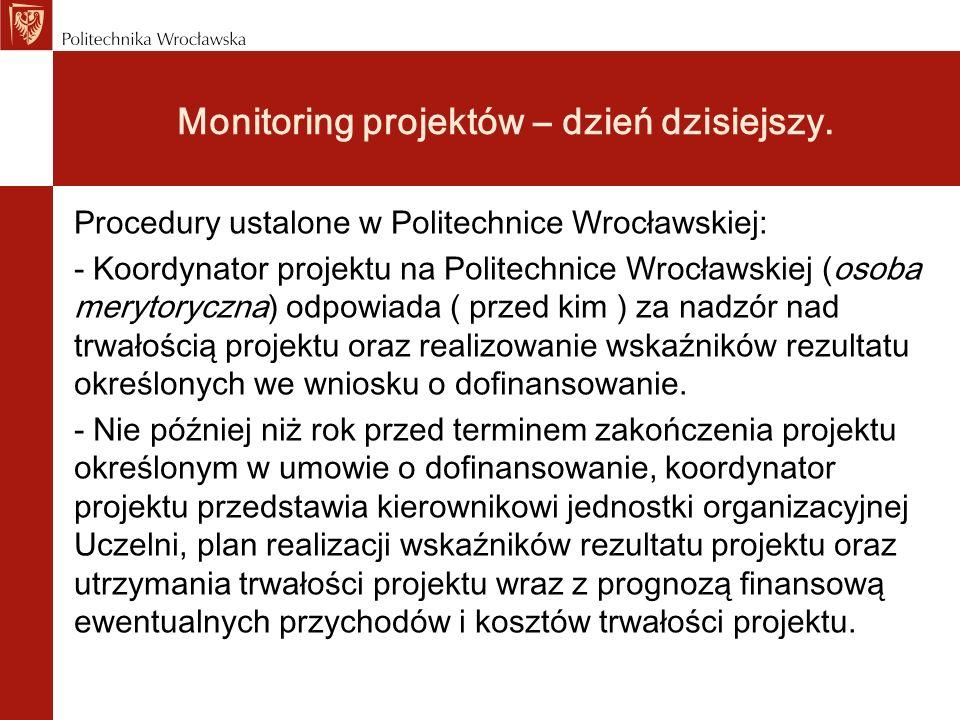 Procedury ustalone w Politechnice Wrocławskiej: - Koordynator projektu na Politechnice Wrocławskiej (osoba merytoryczna) odpowiada ( przed kim ) za na