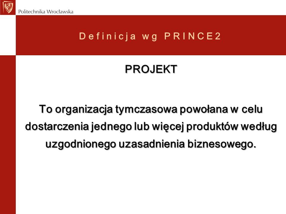 Definicja wg PRINCE2 PROJEKT To organizacja tymczasowa powołana w celu dostarczenia jednego lub więcej produktów według uzgodnionego uzasadnienia bizn