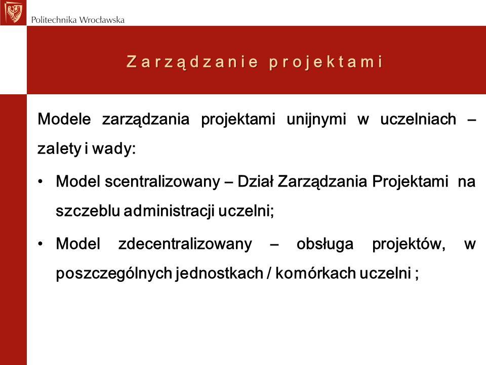 Zarządzanie projektami Modele zarządzania projektami unijnymi w uczelniach – zalety i wady: Model scentralizowany – Dział Zarządzania Projektami na sz