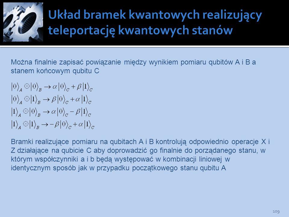 109 Można finalnie zapisać powiązanie między wynikiem pomiaru qubitów A i B a stanem końcowym qubitu C Bramki realizujące pomiaru na qubitach A i B ko
