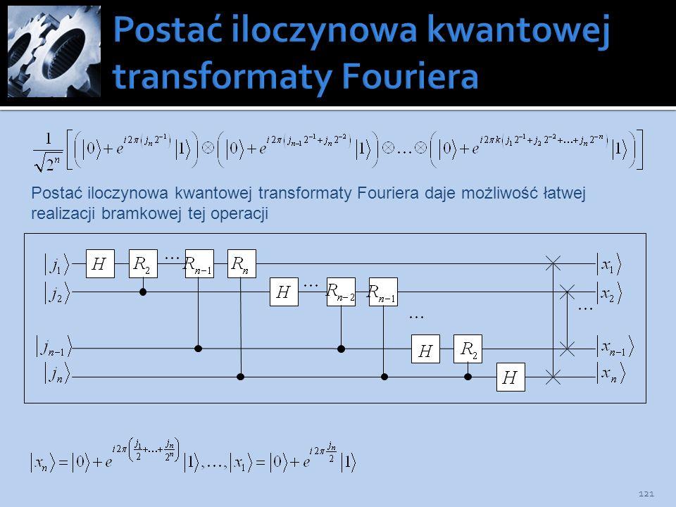 121 Postać iloczynowa kwantowej transformaty Fouriera daje możliwość łatwej realizacji bramkowej tej operacji