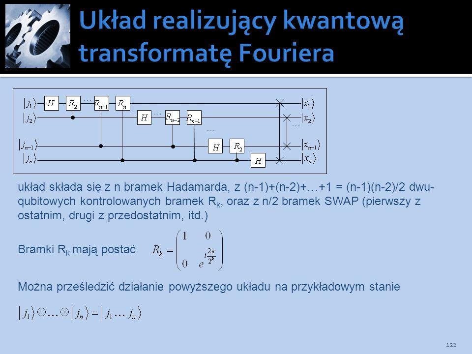 122 układ składa się z n bramek Hadamarda, z (n-1)+(n-2)+…+1 = (n-1)(n-2)/2 dwu- qubitowych kontrolowanych bramek R k, oraz z n/2 bramek SWAP (pierwsz