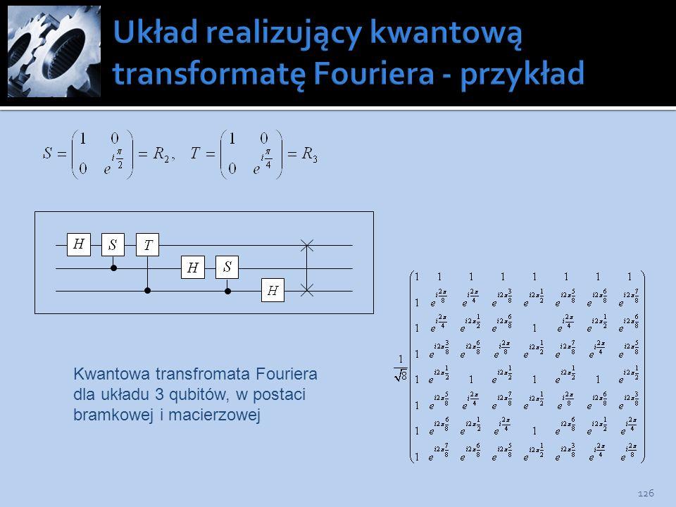 126 Kwantowa transfromata Fouriera dla układu 3 qubitów, w postaci bramkowej i macierzowej