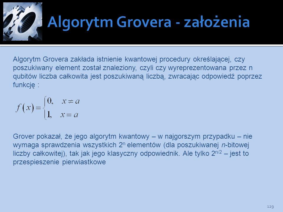 129 Algorytm Grovera zakłada istnienie kwantowej procedury określającej, czy poszukiwany element został znaleziony, czyli czy wyreprezentowana przez n