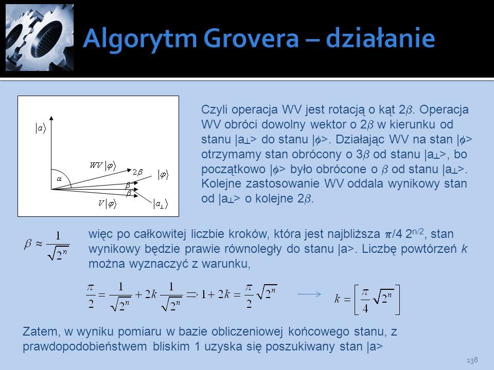 138 Czyli operacja WV jest rotacją o kąt 2. Operacja WV obróci dowolny wektor o 2 w kierunku od stanu |a > do stanu | >. Działając WV na stan | > otrz
