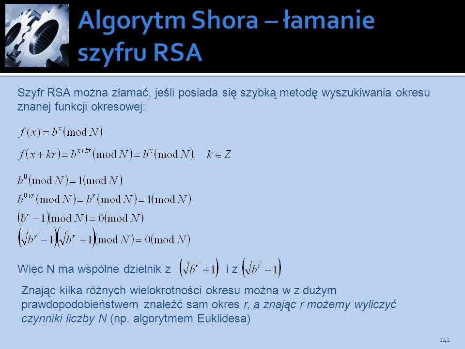 141 Szyfr RSA można złamać, jeśli posiada się szybką metodę wyszukiwania okresu znanej funkcji okresowej: Więc N ma wspólne dzielnik z i z Znając kilk