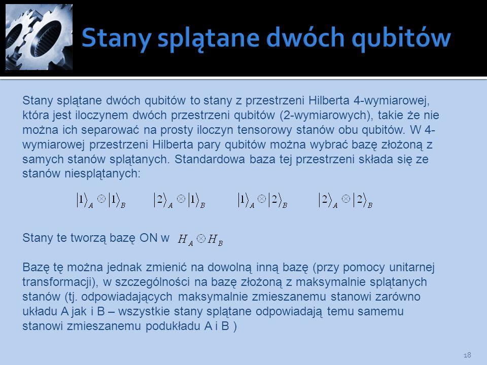 18 Stany splątane dwóch qubitów to stany z przestrzeni Hilberta 4-wymiarowej, która jest iloczynem dwóch przestrzeni qubitów (2-wymiarowych), takie że