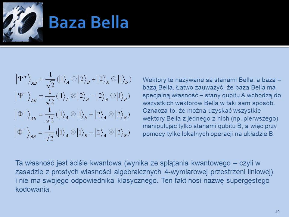 19 Wektory te nazywane są stanami Bella, a baza – bazą Bella. Łatwo zauważyć, że baza Bella ma specjalną własność – stany qubitu A wchodzą do wszystki