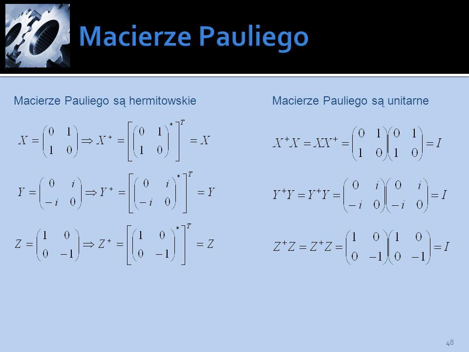 Macierze Pauliego są unitarneMacierze Pauliego są hermitowskie 48