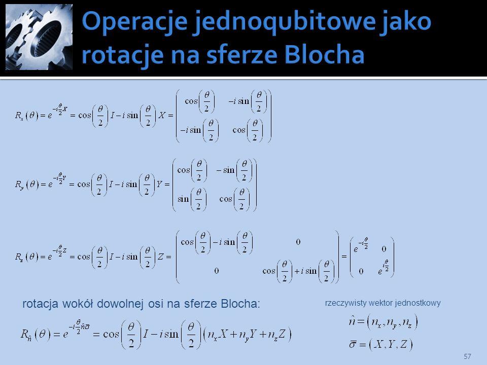 rotacja wokół dowolnej osi na sferze Blocha: rzeczywisty wektor jednostkowy 57