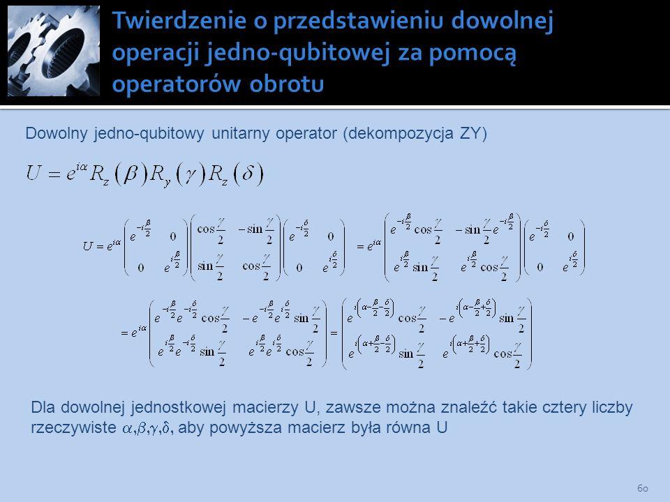 60 Dowolny jedno-qubitowy unitarny operator (dekompozycja ZY) Dla dowolnej jednostkowej macierzy U, zawsze można znaleźć takie cztery liczby rzeczywis