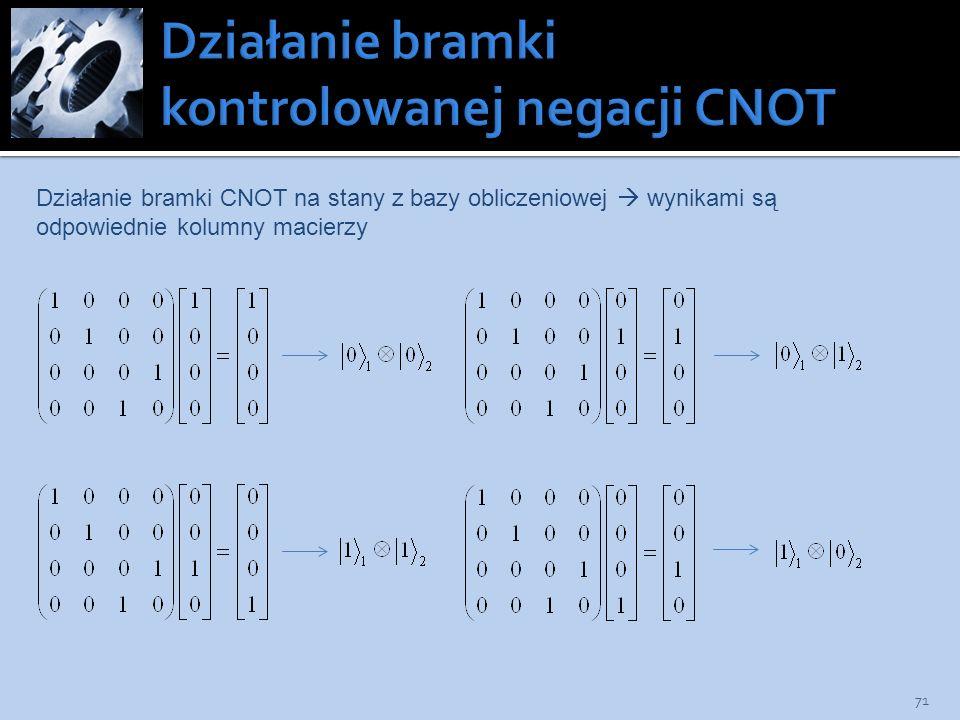 71 Działanie bramki CNOT na stany z bazy obliczeniowej wynikami są odpowiednie kolumny macierzy