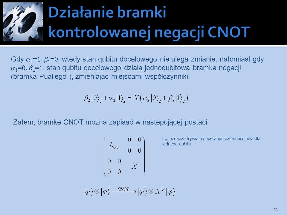 73 Gdy, wtedy stan qubitu docelowego nie ulega zmianie, natomiast gdy, stan qubitu docelowego działa jednoqubitowa bramka negacji (bramka Pualiego ),