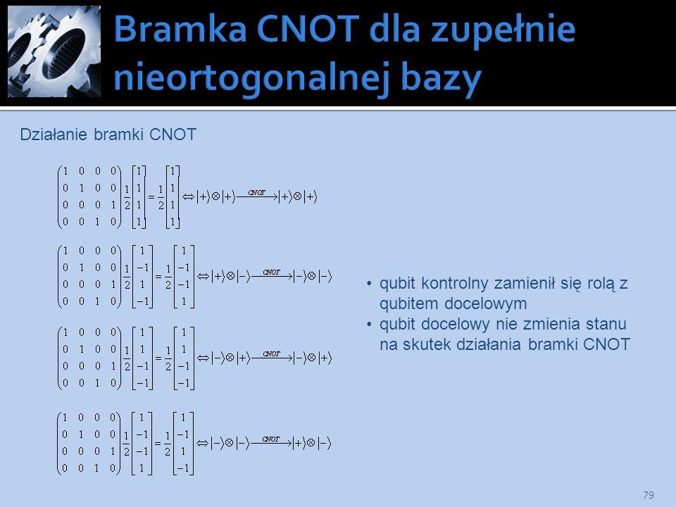 79 Działanie bramki CNOT qubit kontrolny zamienił się rolą z qubitem docelowym qubit docelowy nie zmienia stanu na skutek działania bramki CNOT