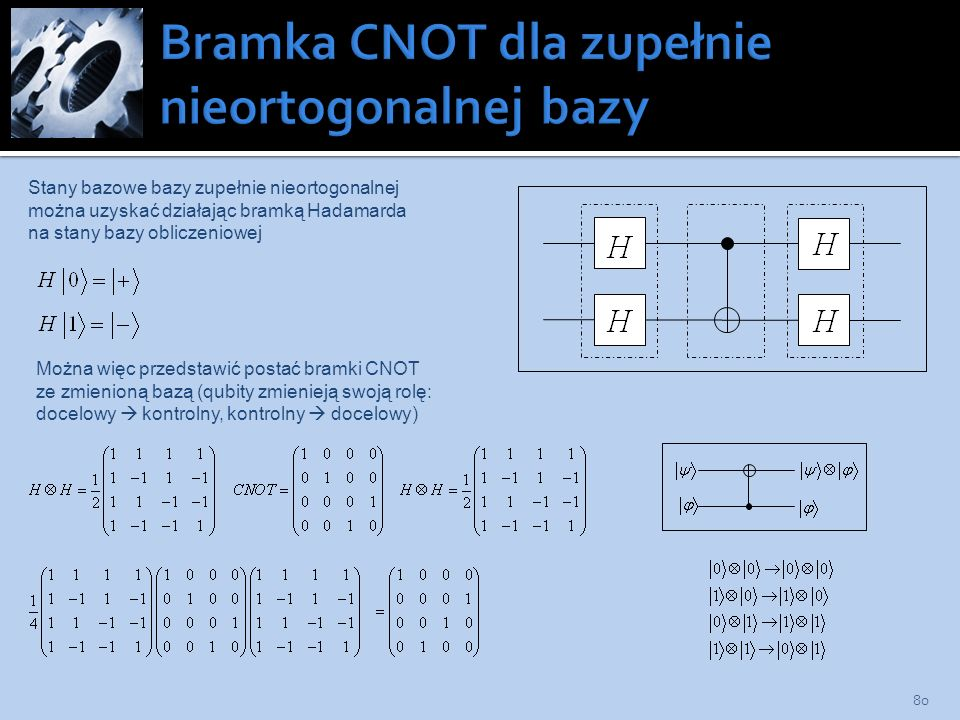 80 Stany bazowe bazy zupełnie nieortogonalnej można uzyskać działając bramką Hadamarda na stany bazy obliczeniowej Można więc przedstawić postać bramk
