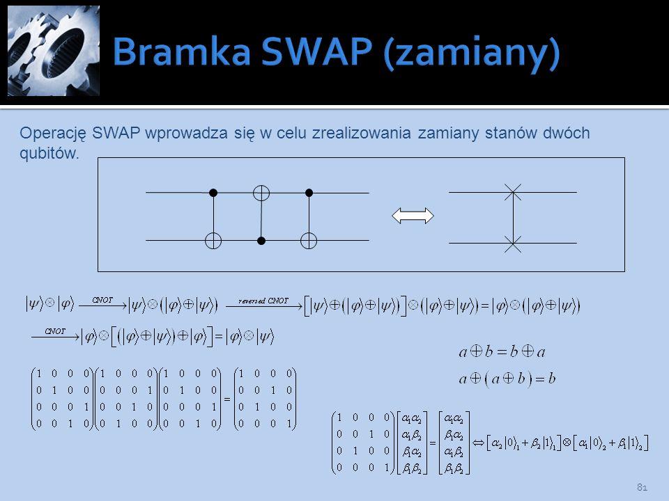 81 Operację SWAP wprowadza się w celu zrealizowania zamiany stanów dwóch qubitów.