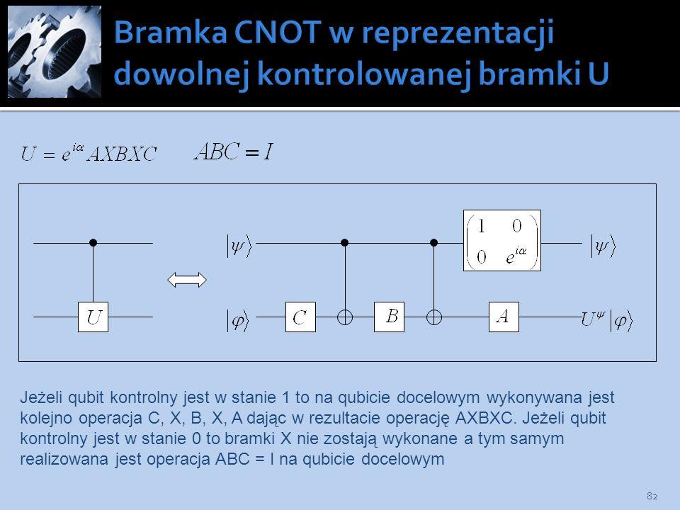 82 Jeżeli qubit kontrolny jest w stanie 1 to na qubicie docelowym wykonywana jest kolejno operacja C, X, B, X, A dając w rezultacie operację AXBXC. Je