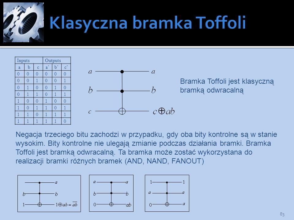 83 InputsOutputs abcabc 000000 001001 010010 011011 100100 101101 110111 111110 Bramka Toffoli jest klasyczną bramką odwracalną Negacja trzeciego bitu