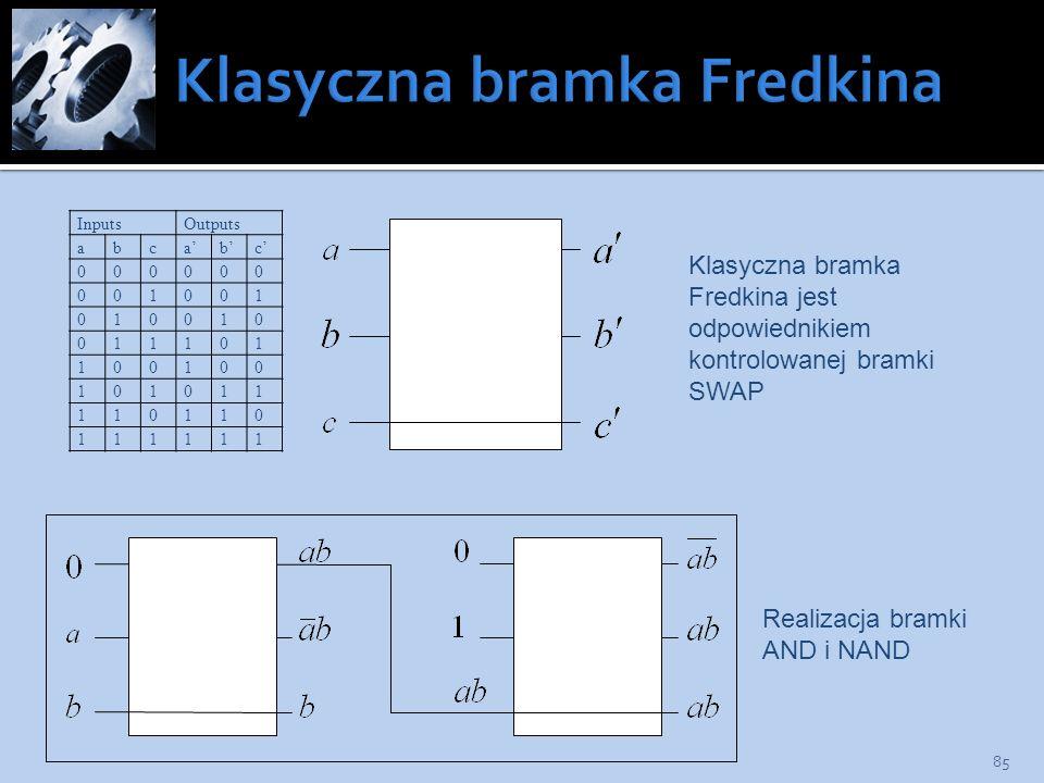 85 InputsOutputs abcabc 000000 001001 010010 011101 100100 101011 110110 111111 Realizacja bramki AND i NAND Klasyczna bramka Fredkina jest odpowiedni
