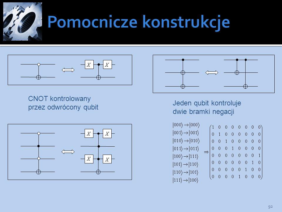 92 CNOT kontrolowany przez odwrócony qubit Jeden qubit kontroluje dwie bramki negacji