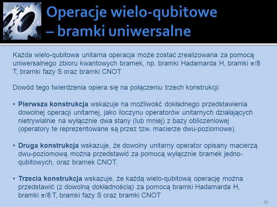 93 Każda wielo-qubitowa unitarna operacja może zostać zrealizowana za pomocą uniwersalnego zbioru kwantowych bramek, np. bramki Hadamarda H, bramki /8
