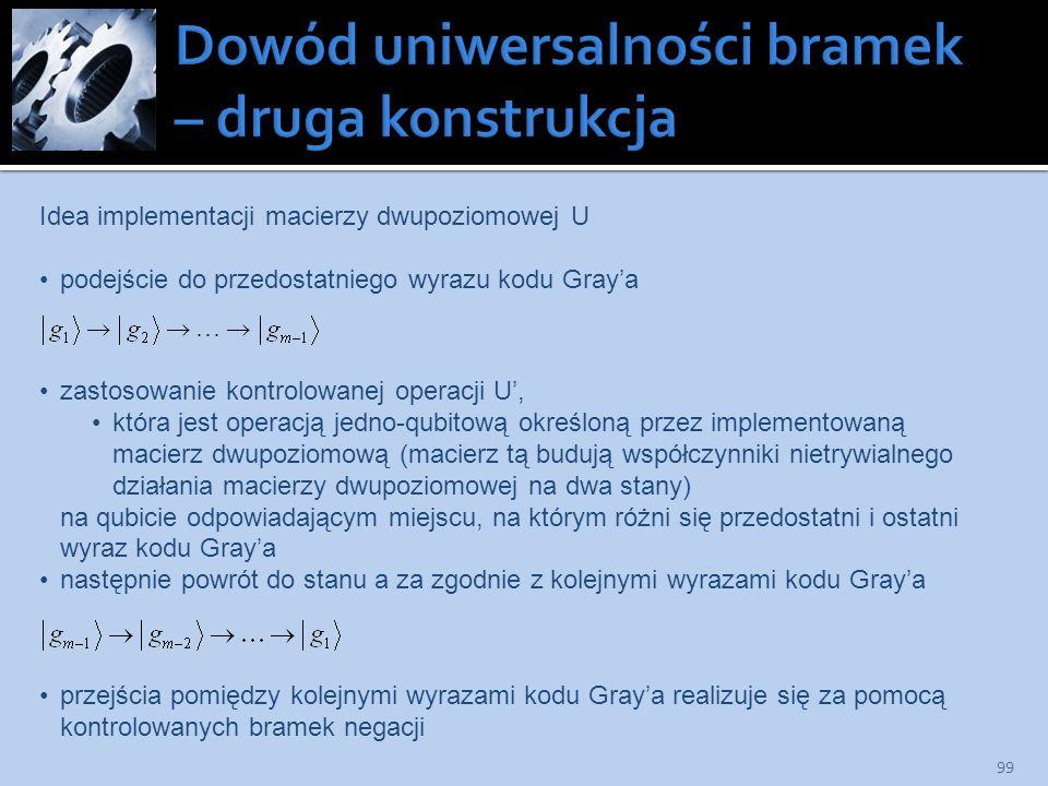 99 Idea implementacji macierzy dwupoziomowej U podejście do przedostatniego wyrazu kodu Graya zastosowanie kontrolowanej operacji U, która jest operac