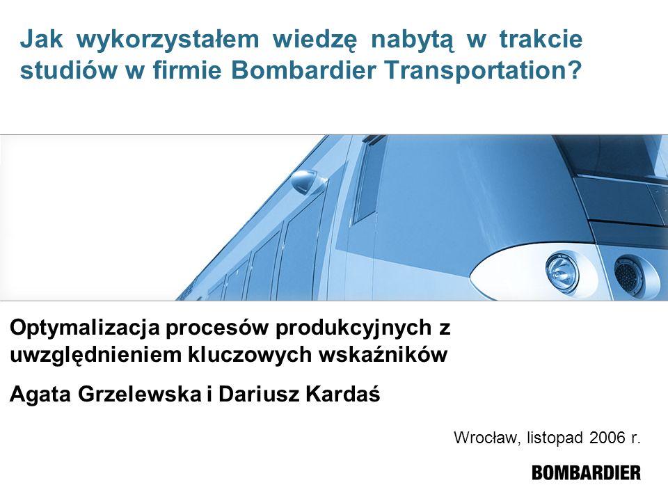 Wrocław, listopad 2006 r. Optymalizacja procesów produkcyjnych z uwzględnieniem kluczowych wskaźników Agata Grzelewska i Dariusz Kardaś Jak wykorzysta