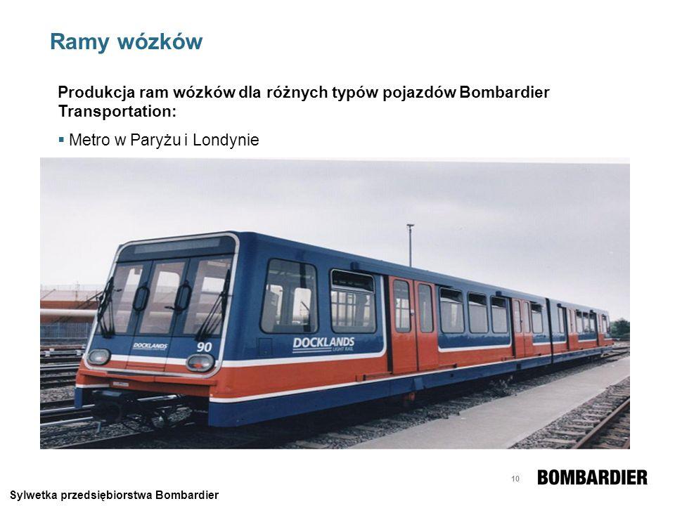 10 Ramy wózków Produkcja ram wózków dla różnych typów pojazdów Bombardier Transportation: Metro w Paryżu i Londynie Sylwetka przedsiębiorstwa Bombardi