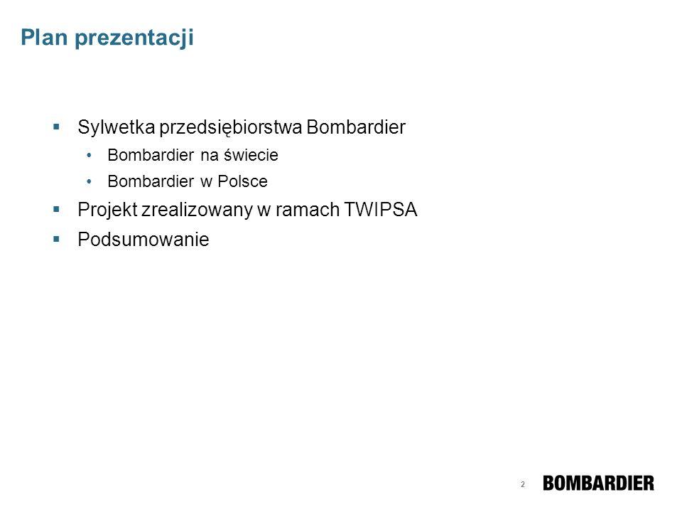 13 Plan prezentacji Sylwetka przedsiębiorstwa Bombardier Bombardier na świecie Bombardier w Polsce Projekt zrealizowany w ramach TWIPSA Podsumowanie
