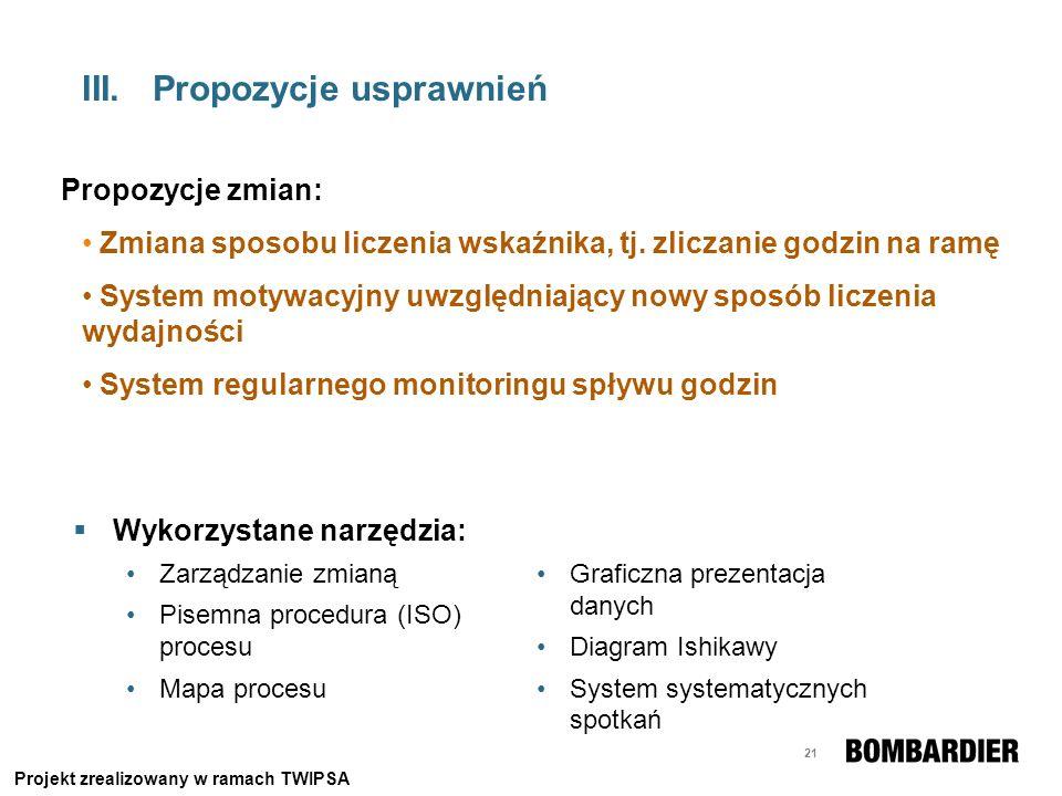 21 III.Propozycje usprawnień Wykorzystane narzędzia: Zarządzanie zmianą Pisemna procedura (ISO) procesu Mapa procesu Propozycje zmian: Zmiana sposobu
