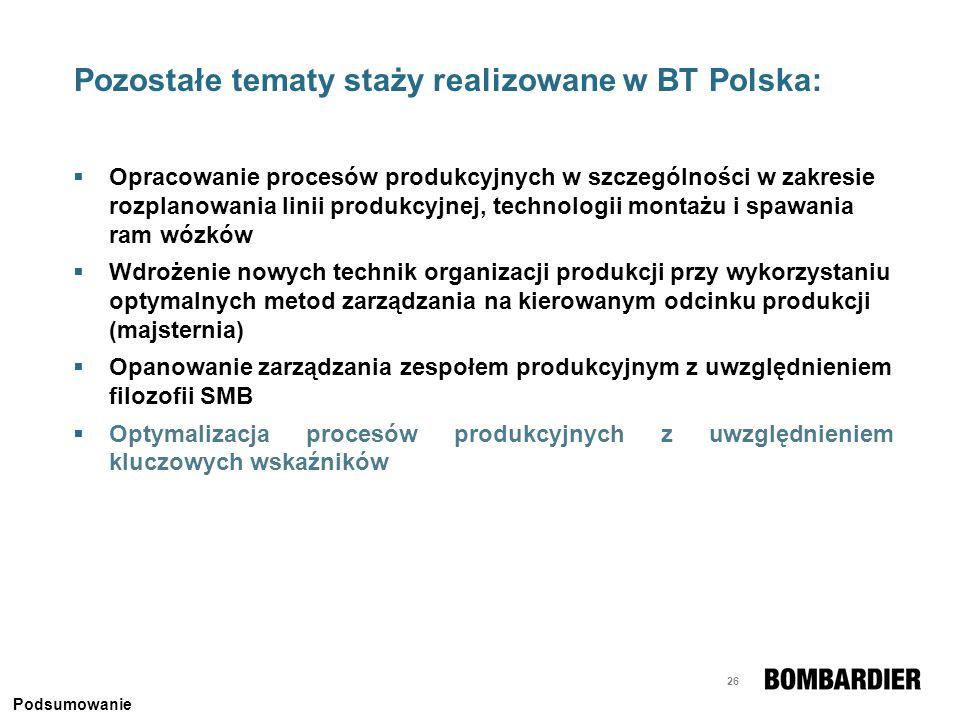 26 Pozostałe tematy staży realizowane w BT Polska: Opracowanie procesów produkcyjnych w szczególności w zakresie rozplanowania linii produkcyjnej, tec