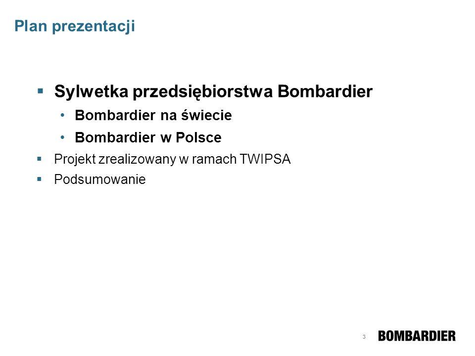 3 Plan prezentacji Sylwetka przedsiębiorstwa Bombardier Bombardier na świecie Bombardier w Polsce Projekt zrealizowany w ramach TWIPSA Podsumowanie