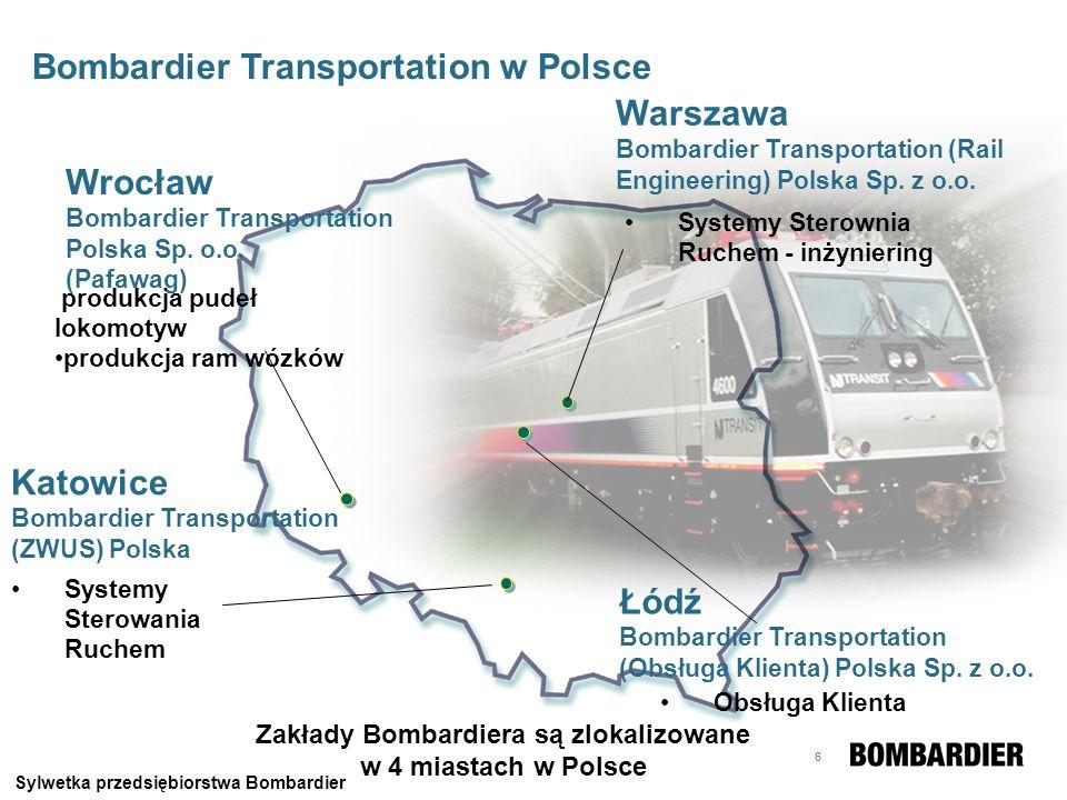 6 produkcja pudeł lokomotyw produkcja ram wózków Wrocław Bombardier Transportation Polska Sp. o.o. (Pafawag) Systemy Sterownia Ruchem - inżyniering Wa