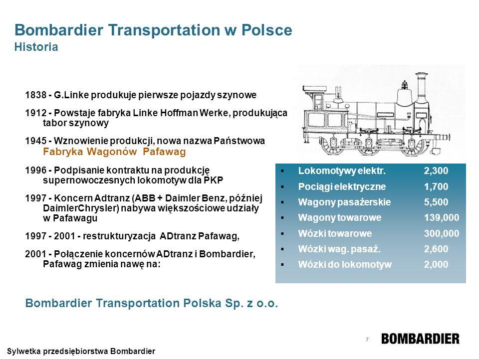 8 Produkcja pudeł Produkcja ram wózków Obszar produkcyjny: 65,352 m 2 Pracownicy: ponad 600 osób Wrocławski Zakład jest światowym liderem w produkcji podzespołów taboru szynowego Sylwetka przedsiębiorstwa Bombardier Bombardier Transportation w Polsce Przedmiot działalności