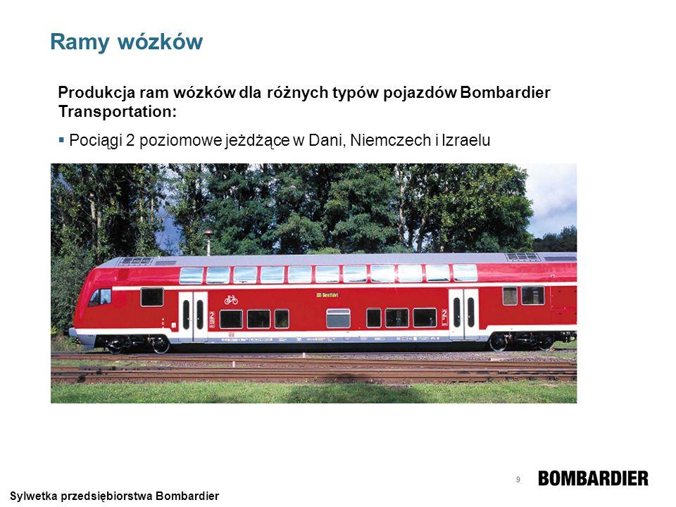 10 Ramy wózków Produkcja ram wózków dla różnych typów pojazdów Bombardier Transportation: Metro w Paryżu i Londynie Sylwetka przedsiębiorstwa Bombardier
