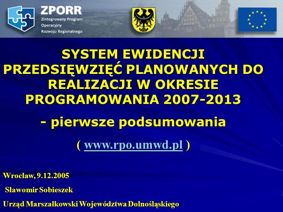 SYSTEM EWIDENCJI PRZEDSIĘWZIĘĆ PLANOWANYCH DO REALIZACJI W OKRESIE PROGRAMOWANIA 2007-2013 - pierwsze podsumowania ( www.rpo.umwd.pl ) www.rpo.umwd.pl