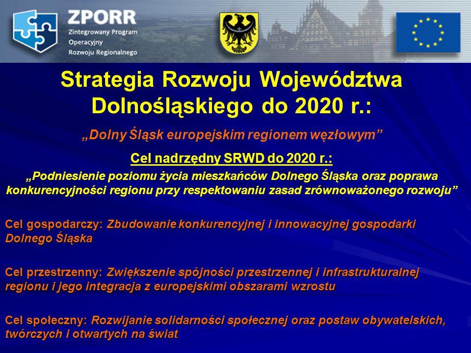 Strategia Rozwoju Województwa Dolnośląskiego do 2020 r.: Dolny Śląsk europejskim regionem węzłowym Cel nadrzędny SRWD do 2020 r.: Podniesienie poziomu
