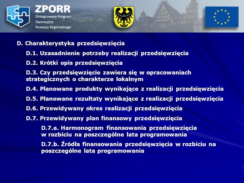 D. Charakterystyka przedsięwzięcia D.1. Uzasadnienie potrzeby realizacji przedsięwzięcia D.2.