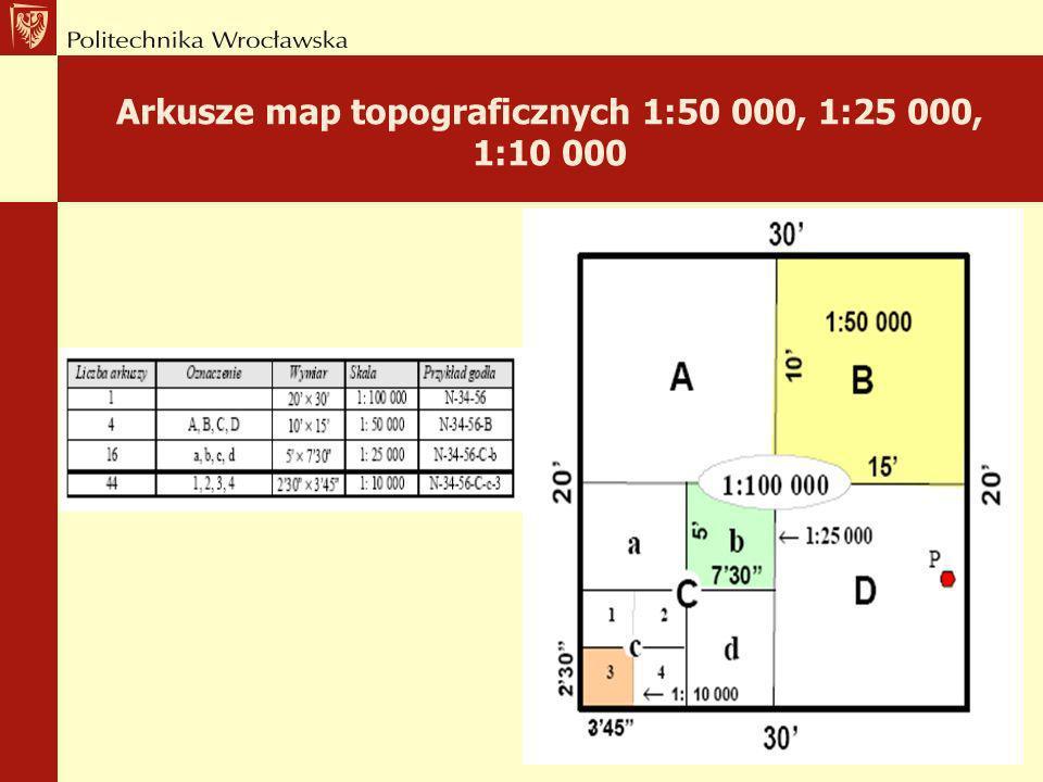 Arkusze map topograficznych 1:500 000, 1:200 000, 1:100 000