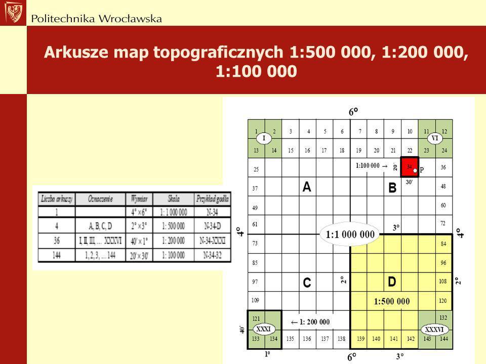 Arkusze Międzynarodowej Mapy Świata 1:1 000 000 Polska znajduje się na czterech arkuszach mapy świata 4° i 6° o godłach N-33, N-34, M-33 i M-34