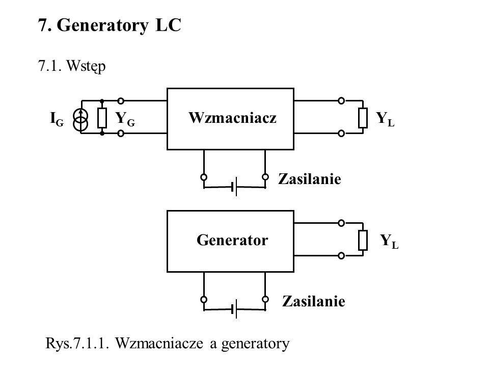 7.2.Klasyfikacja generatorów Podział ze względu na kształt drgań : - generatory drgań sinusoidalnych, - generatory drgań niesinusoidalnych (prostokątnych, trójkątnych, impulsowych) a) ze względu na stawiane im wymagania : - generatory częstotliwości (duża stałość częstotliwości, bez konieczności dbania o ich sprawność energetyczną), - generatory mocy (duża moc wyjściowa, duża sprawność), b) ze względu na rozwiązania układowe i sposób pracy elementu aktywnego - generatory sprzężeniowe (generatory LC, RC, układy ze stabilizacją piezo- elektryczną), w których element aktywny objęty jest pętlą dodatniego sprzę- żenia zwrotnego, - generatory dwójnikowe (generatory z elementami o ujemnej rezystancji) Podział generatorów sinusoidalnych :