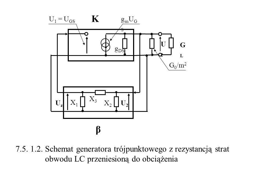 K GLGL β X3X3 X1X1 X2X2 U 1 = U GS g DS gmUGSgmUGS G 0 /m 2 U2U2 U2U2 UzUz 7.5. 1.2. Schemat generatora trójpunktowego z rezystancją strat obwodu LC p