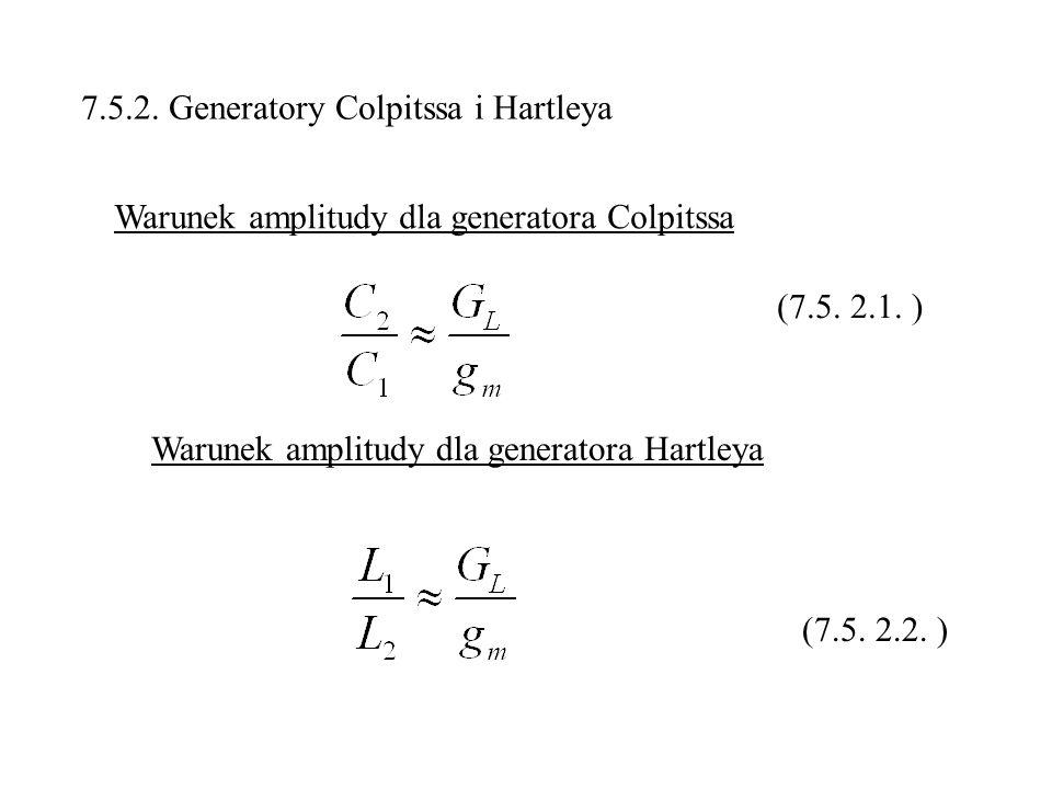 7.5.2. Generatory Colpitssa i Hartleya Warunek amplitudy dla generatora Colpitssa Warunek amplitudy dla generatora Hartleya (7.5. 2.1. ) (7.5. 2.2. )