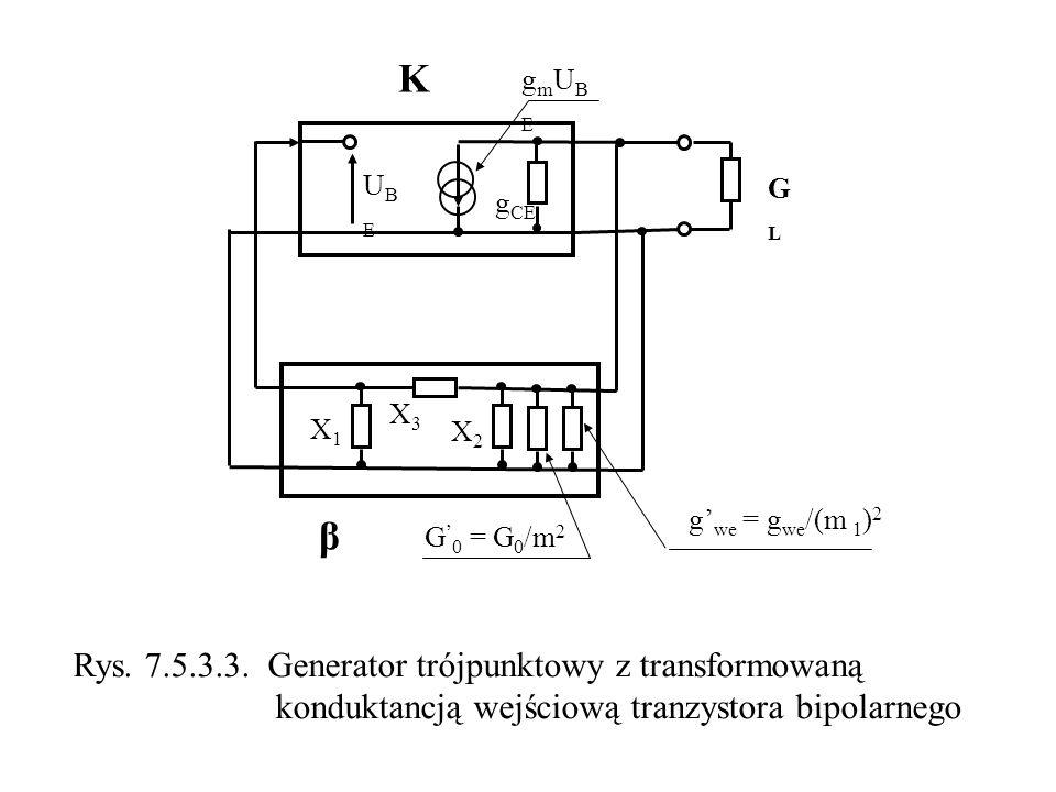 K GLGL β X3X3 X1X1 X2X2 UBEUBE g CE gmUBEgmUBE G 0 = G 0 /m 2 g we = g we /(m 1 ) 2 Rys. 7.5.3.3. Generator trójpunktowy z transformowaną konduktancją