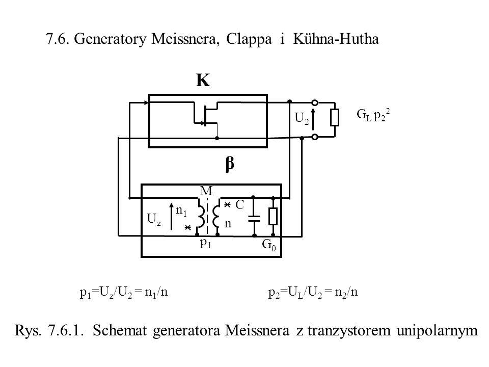 7.6. Generatory Meissnera, Clappa G L p 2 2 β M K C n1n1 n U2U2 UzUz p1p1 G0G0 p 1 =U z /U 2 = n 1 /np 2 =U L /U 2 = n 2 /n Rys. 7.6.1. Schemat genera