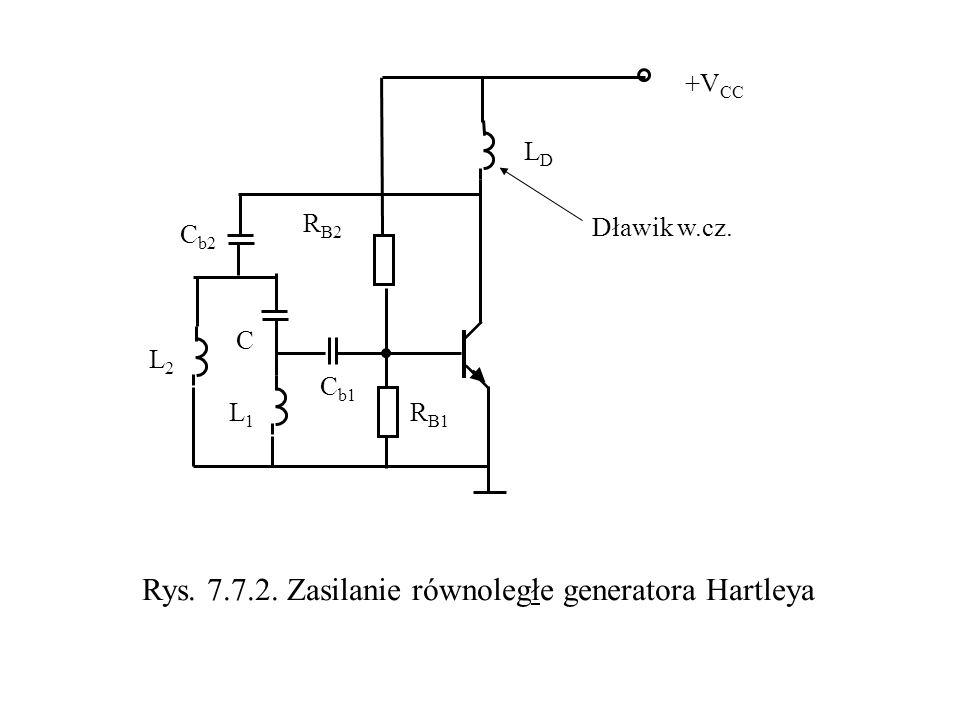 L2L2 L1L1 C C b2 R B2 R B1 +V CC Rys. 7.7.2. Zasilanie równoległe generatora Hartleya C b1 LDLD Dławik w.cz.