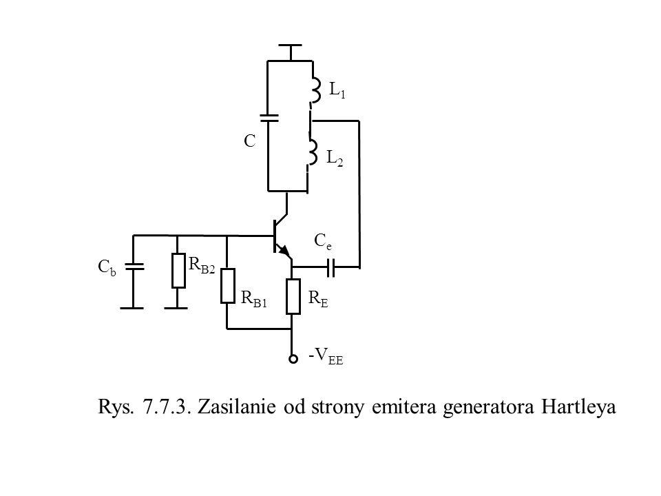 L2L2 L1L1 C CeCe RERE R B1 -V EE Rys. 7.7.3. Zasilanie od strony emitera generatora Hartleya CbCb R B2