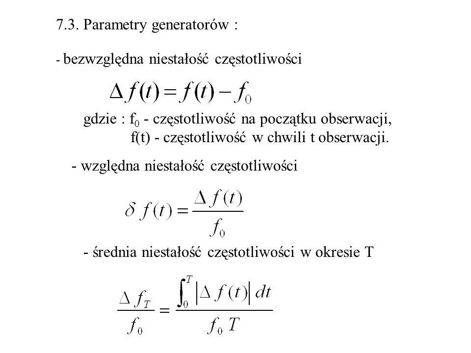 7.3. Parametry generatorów : - bezwzględna niestałość częstotliwości gdzie : f 0 - częstotliwość na początku obserwacji, f(t) - częstotliwość w chwili